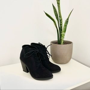 Steve Madden Black Jayson Suede Lace Up Ankle Booties